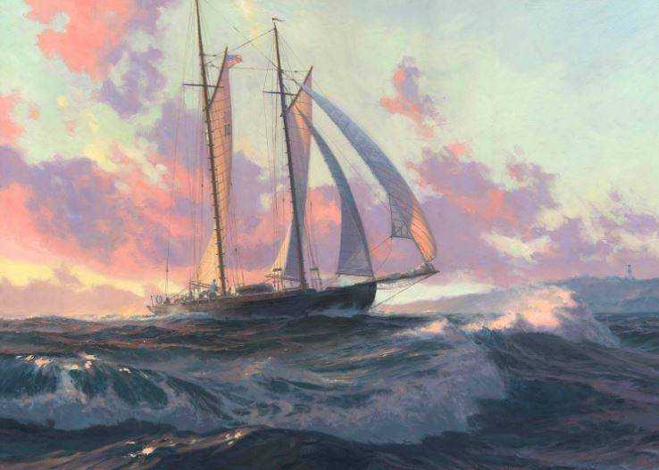 A painting of a double-mast sail boat on rough seas at sunset.