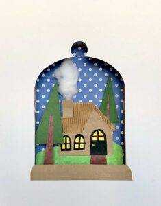 A paper illustration in the shape of a snow globe with two green pine trees, brown cabin with smoke made from cotton coming out of the chimney, and a show-globe outline. Text Overlay: Virtual Family Day: Shadow Box Illustrations With Miss Dani. SATURDAY, FEBRUARY 13, 11 AM - 12:30 PM.