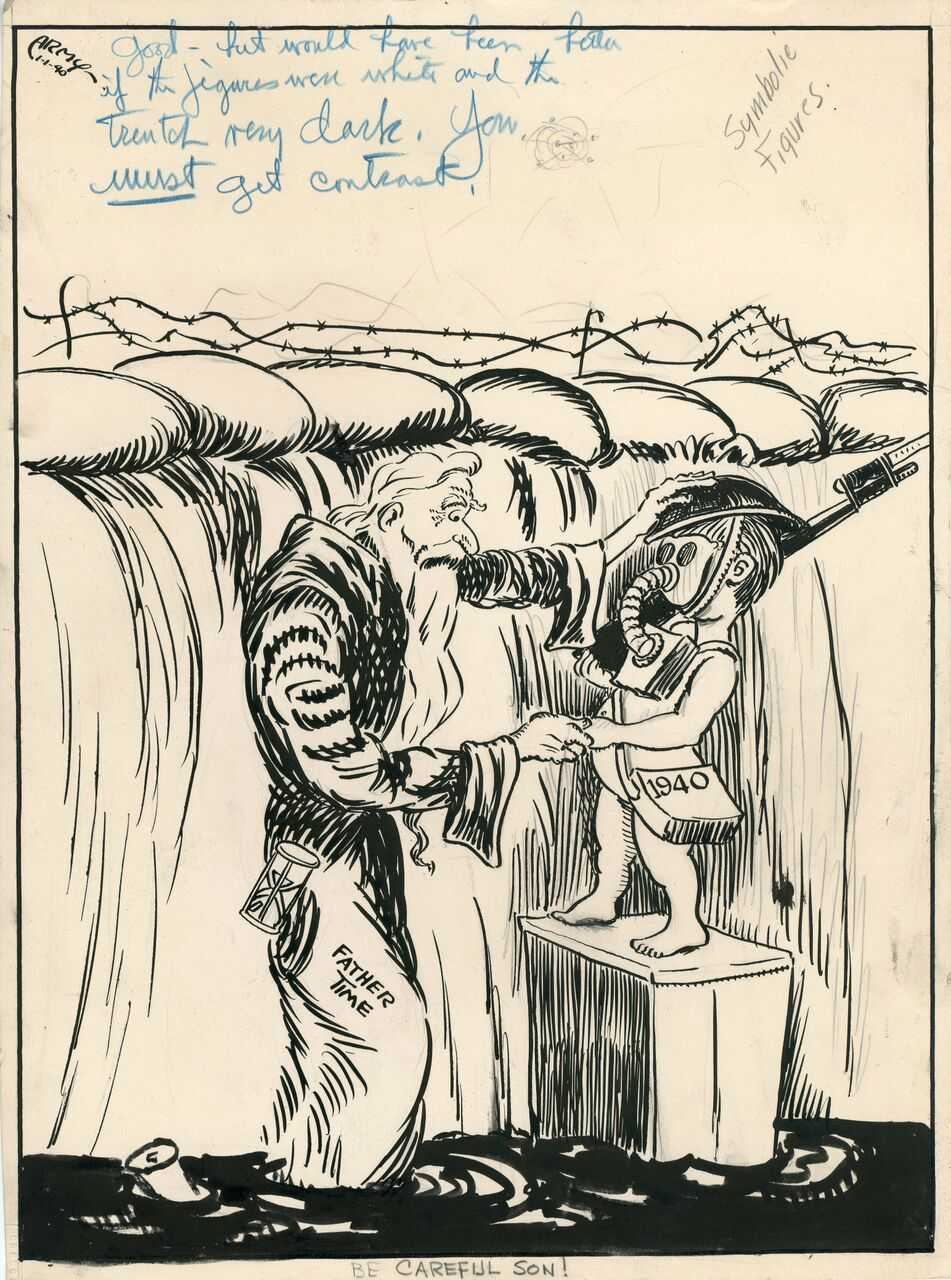 "artist known as ""Army,"" Be Careful Son!, 1940; 14 x 10 1/4 inches,ink on paper; Courtesy of University of Central Oklahoma Galleries and Collections."