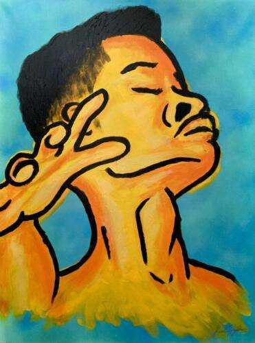 """""""Golden Son"""" Acrylic and spray paint. 24""""x30"""". Stretched canvas."""