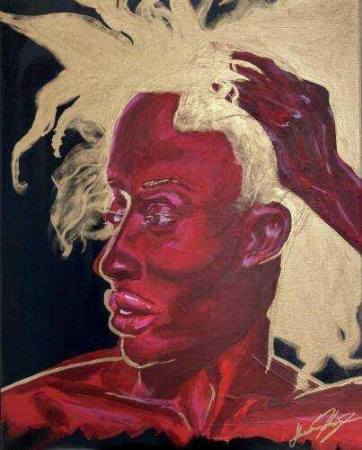 """Cynthia"" Acrylic, Gold gilding, spray paint. 16""x20"". Stretch Canvas,"